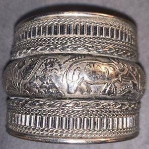 Boho wide silver cuff bracelet